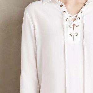cloth & stone white lace up tunic Anthropologie